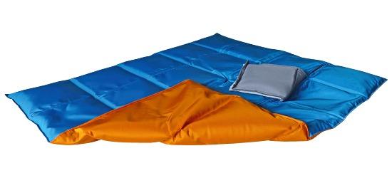 Enste® zware deken/gewichtsdeken 90x72 cm / oranje-blauw, Buitenhoes Suratec
