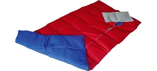 Enste® zware deken/gewichtsdeken 144x72 cm / rood-blauw, Buitenhoes katoen