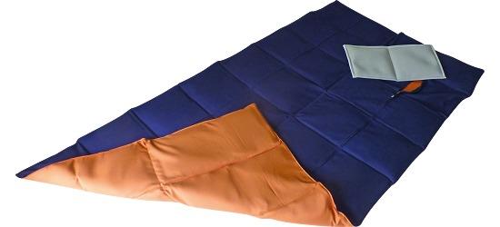 Enste zware deken/gewichtsdeken 180x90 cm / donkerblauw-terracotta, Buitenhoes katoen