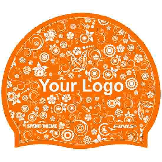 Bedrukte badmuts silicone Oranje, Op 1 zijde
