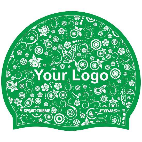Bedrukte badmuts silicone Groen, Op beide zijden