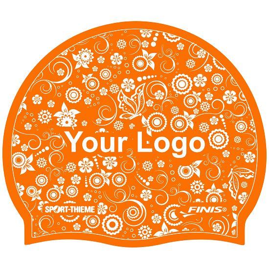 Bedrukte badmuts silicone Oranje, Op beide zijden