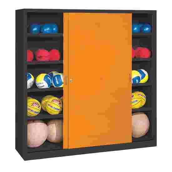 C+P Ballenkast (HxBxD195x190x60 cm, met geperforeerde plaatstaal vleugeldeuren, type 4) Geel-oranje (RAL 2000), Antraciet (RAL 7021)