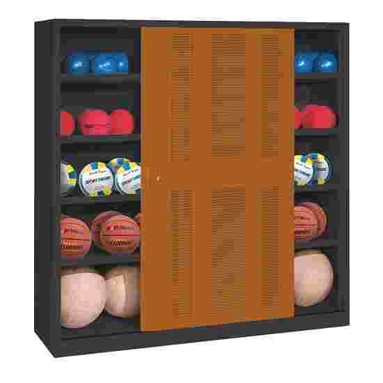 C+P Ballenkast (HxBxD195x190x60 cm, met geperforeerde plaatstaal vleugeldeuren, type 4) Sienarood (RDS 050 40 50), Antraciet (RAL 7021)