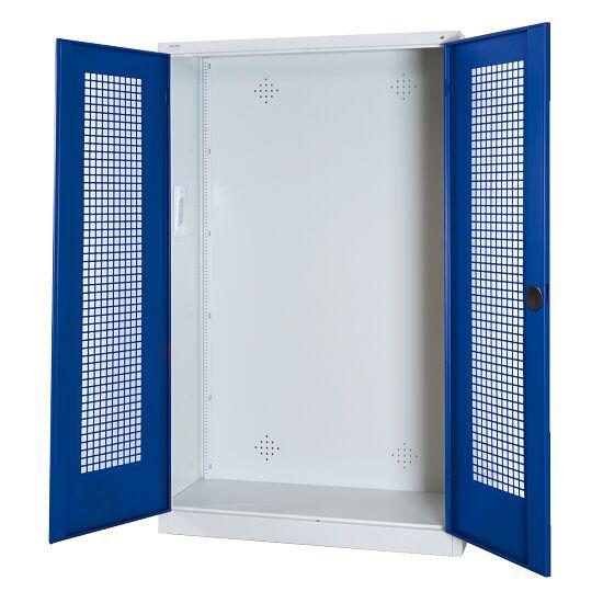 Modulaire sportmateriaalkast, hxbxd 195x120x50 cm, met vleugeldeuren van geperforeerd plaatstaal Gentiaanblauw (RAL 5010), Lichtgrijs (RAL 7035)