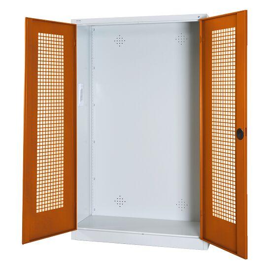 Modulaire sportmateriaalkast, hxbxd 195x120x50 cm, met vleugeldeuren van geperforeerd plaatstaal Sienarood (RDS 050 40 50), Lichtgrijs (RAL 7035)