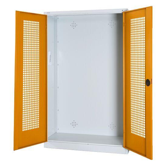 Modulaire sportmateriaalkast, hxbxd 195x120x50 cm, met vleugeldeuren van geperforeerd plaatstaal Geel-oranje (RAL 2000), Lichtgrijs (RAL 7035)
