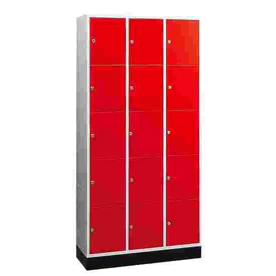 """Sluitvakkast voor grote ruimten """"S 4000 Intro"""" (5 vakken boven elkaar) 195x122x49 cm/ 15 vakken, Vuurrood (RAL 3000)"""