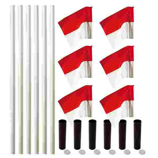 """Sport-Thieme Grenspalen-Set """"Allround"""" Paal wit, vlag rood-wit"""