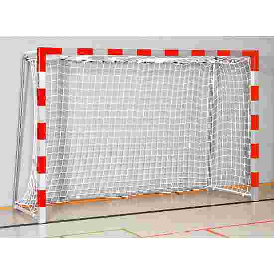 Sport-Thieme Zaalhandbaldoel 3x2 m,  om in grondbussen te plaatsen met inklapbare netbeugels Gelaste hoekverbindingen, Rood-zilver