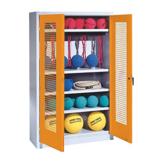 Sportmateriaalkast, hxbxd 195x120x50 cm, met vleugeldeuren van geperforeerde plaat (type 2) Geel-oranje (RAL 2000), Lichtgrijs (RAL 7035)