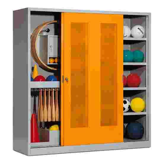 Sportmateriaalkast, hxbxd 195x190x60 cm, met schuifdeuren van geperforeerd plaatstaal (type 5) Geel-oranje (RAL 2000), Lichtgrijs (RAL 7035)