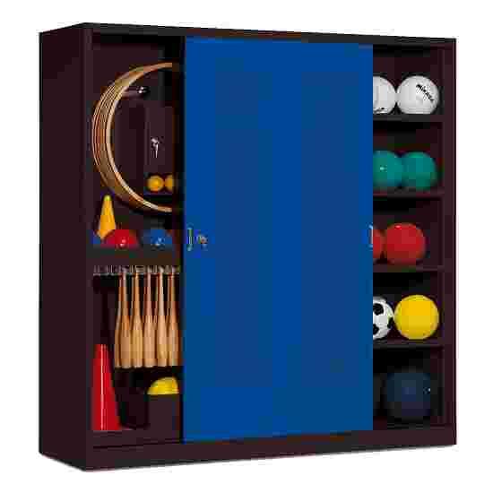 Sportmateriaalkast, hxbxd 195x190x60 cm, met schuifdeuren van geperforeerd plaatstaal (type 5) Gentiaanblauw (RAL 5010), Antraciet (RAL 7021)