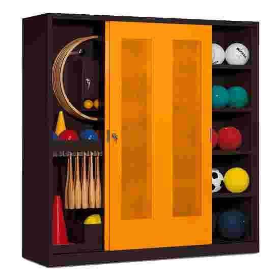 Sportmateriaalkast, hxbxd 195x190x60 cm, met schuifdeuren van geperforeerd plaatstaal (type 5) Geel-oranje (RAL 2000), Antraciet (RAL 7021)