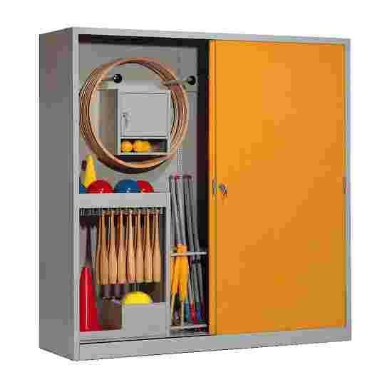 Sportmateriaalkast, hxbxd 195x190x60 cm, met schuifdeuren van massief plaatstaal (type 5) Geel-oranje (RAL 2000), Lichtgrijs (RAL 7035)