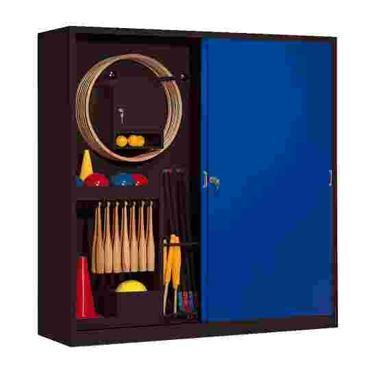 Sportmateriaalkast, hxbxd 195x190x60 cm, met schuifdeuren van massief plaatstaal (type 5) Gentiaanblauw (RAL 5010), Antraciet (RAL 7021)