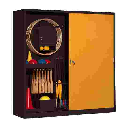 Sportmateriaalkast, hxbxd 195x190x60 cm, met schuifdeuren van massief plaatstaal (type 5) Geel-oranje (RAL 2000), Antraciet (RAL 7021)