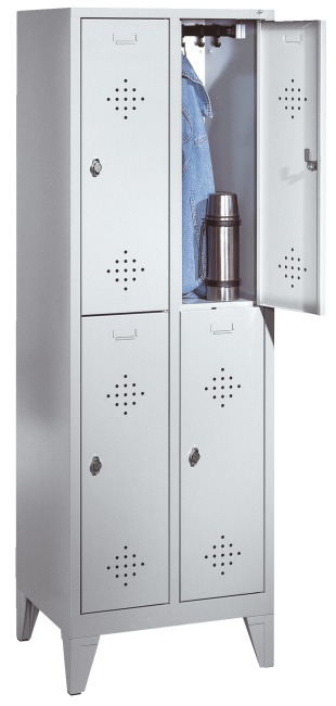 """Dubbele garderobekast """"S 2000 Classic"""" met 150 mm hoge poten 185x81x50 cm/ 4 vakken, 400 mm"""