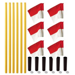 "Sport-Thieme® Grenspalen-Set ""Allround"" Paal wit, vlag rood-wit"