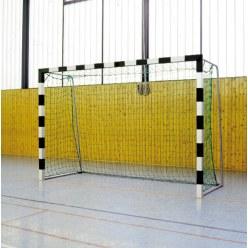 Sport-Thieme® Zaalhandbaldoel 3x2 m, in grondbussen staand Zwart-zilver, Vastgeschroefde hoekverbindingen