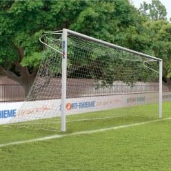 Sport-Thieme Aluminium voetbaldoelen, 7,32 x 2,44 m, hoeken gelast, staande in grondbussen