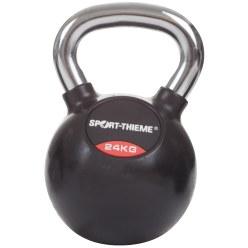 Sport-Thieme Kettlebell met rubber bekleed met gladde chromen handgreep