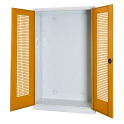 Modulaire sportmateriaalkast, hxbxd 195x120x50 cm, met vleugeldeuren van geperforeerd plaatstaal Fel geel (RDS 080 80 60), Lichtgrijs (RAL 7035)