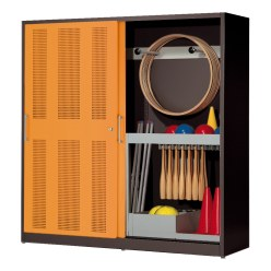 Sportmateriaalkast, hxbxd 195x190x60 cm, met schuifdeuren van geperforeerd plaatstaal (type 5) Gentiaanblauw (RAL 5010), Lichtgrijs (RAL 7035)
