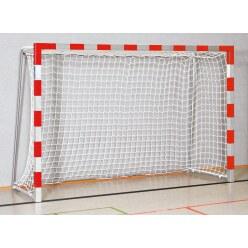 Sport-Thieme® Zaalhandbaldoel 3x2 m, in grondbussen  Zwart-zilver, Vastgeschroefde hoekverbindingen