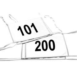 Set dubbele startnummers, wit, nr. 101-200