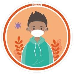 "Tarifold  Sticker ""Kleuterschool & School"" Jongen draagt masker"